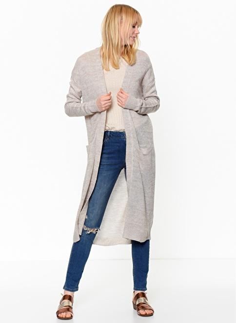 Vero Moda Cepli Uzun Triko Hırka Gri